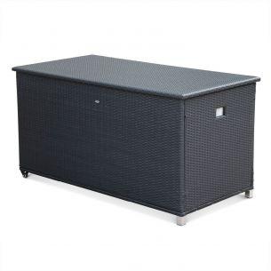 Cassapanca CASSAPANCA rattan garden storage box with handle and wheels, black