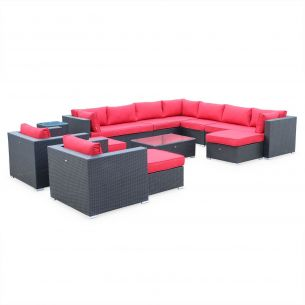 Tripoli Salon de jardin en résine tressée XXL - Tripoli - Noir Coussins rouges - 14 places