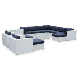 Tripoli Salon de jardin en résine tressée XXL - Tripoli - Blanc, Coussins bleu marine - 14 places