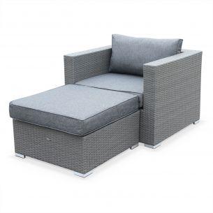 Genova Salon de jardin Genova, fauteuil + pouf en résine tressée grise, coussins Gris