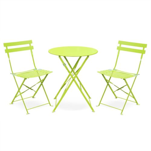 Emilia colour Foldable Emilia anise green bistro garden set, Ø60cm table with two foldable chairs, thermo-lacquered steel