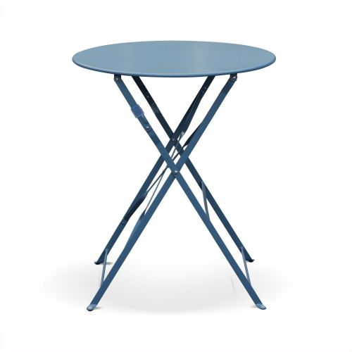 Emilia Pastel Blue grey Emilia foldable bistro set, Ø60cm round table with two foldable chairs, thermo-lacquered steel