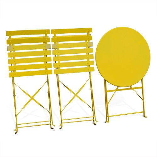 Emilia Pastel Foldable yellow Emilia bistro garden set, Ø60cm round table with two foldable chairs, thermo-lacquered steel