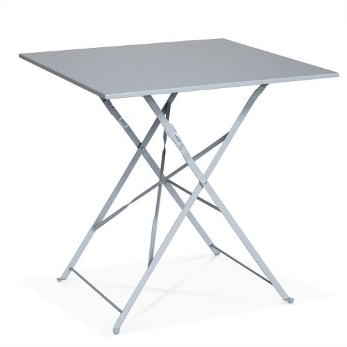 Emilia Colour Foldable taupe grey Emilia bistro garden set, square table with two foldable chairs, thermo-lacquered steel