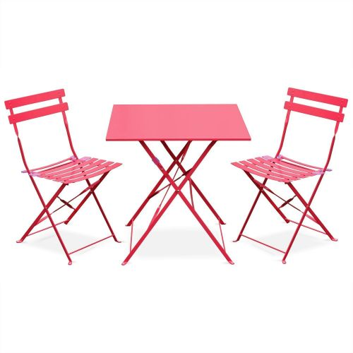 Emilia Colour Emilia raspberry red foldable bistro garden set, square table with two foldable chairs, thermo-lacquered steel