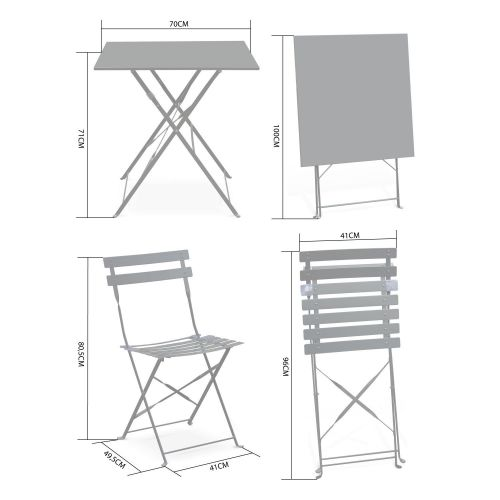 Emilia Foldable yellow Emilia bistro garden set, square table with two foldable chairs, thermo-lacquered steel